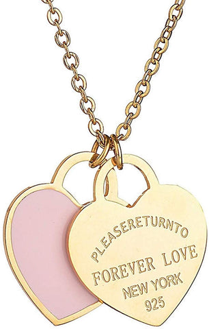 Designer Inspired Gold Titanium Steel Forever Love Double Heart Pendant Necklace