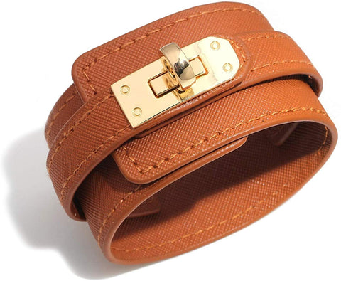 Wide Cuff Multilayer Leather Wrap Bracelet Unisex 23cm 9 inch Length (Brown)