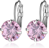 Designer Inspired Luxury Swarovski Crystal Silver Steel Round Hoop Earrings (Pink)