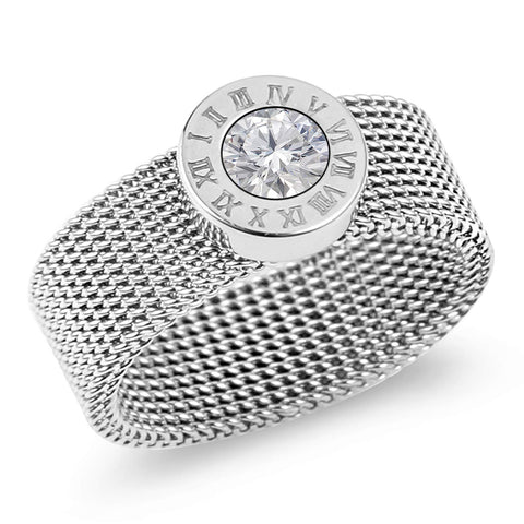 Designer Inspired Silver Titanium Steel Mesh Band Ring with Roman Numerals and Solitaire Swarovski Crystal (9)