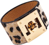 Designer Inspired Wide Cuff Leopard Print Leather Wrap Bracelet Unisex 23cm 9 inch Length (Nude Cream)