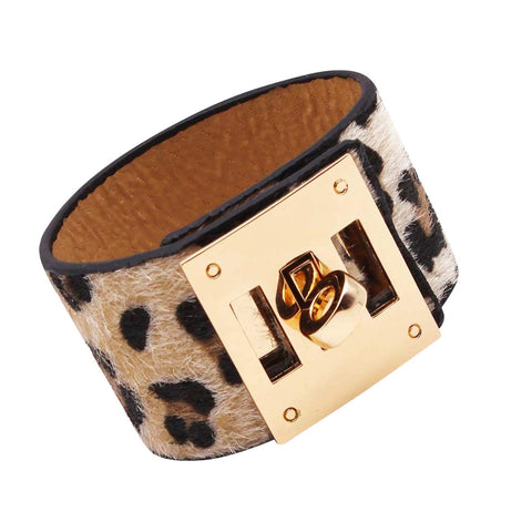 Designer Inspired Wide Cuff Leopard Print Leather Wrap Bracelet Unisex 23cm 9 inch Length