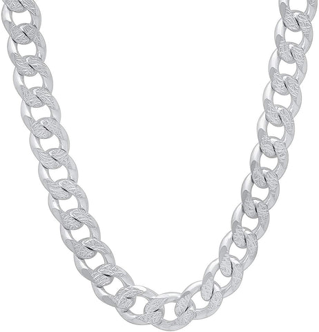 Designer Inspired 8mm Thick Silver Curb Chain Necklace Sterling 925 20""