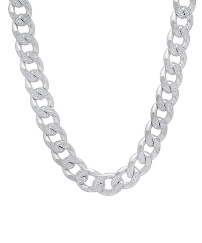 Designer Inspired 8mm Thick Silver Curb Chain Necklace Sterling 925 24""
