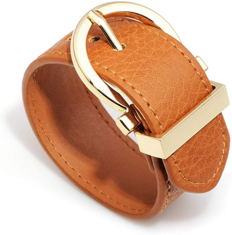 Wide Cuff Leather Round Belt Buckle Wrap Bracelet Unisex 25cm 10 inch Length