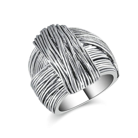 Designer Inspired Titanium Steel Folded Ribbon Vintage Statement Ring (8)