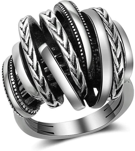 Designer Inspired Titanium Stainless Steel Vintage Signature Wide Crossover 2 Tone Statement Ring