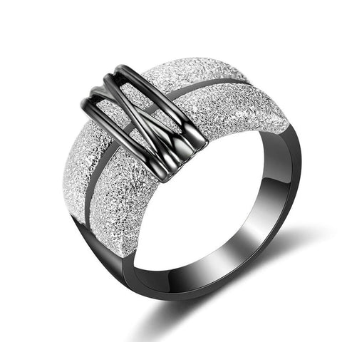 Designer Inspired Titanium Steel Double Bar Vintage Two Tone Statement Ring