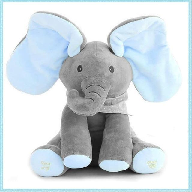 Blue Baby Peek a Boo Elephant Animated Toy - Shock-Cart.co.uk