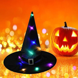 Halloween Led Lighted Hanging Witch Hats Glowing