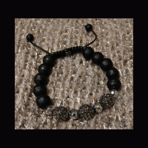 Sparkling black crystal beaded bracelet