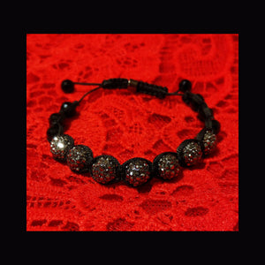Black Bling sparkle crystal beaded bracelet