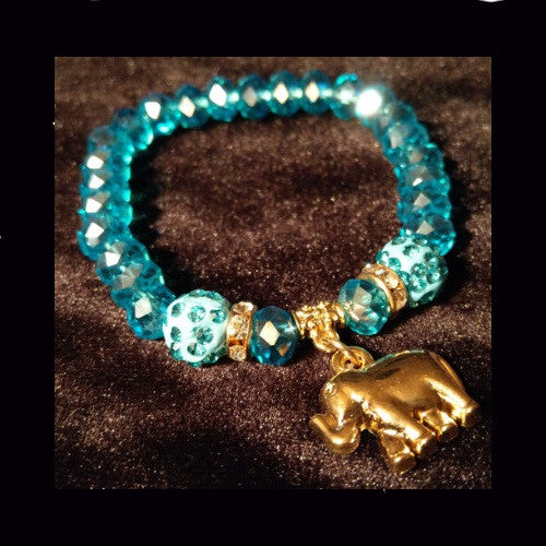 Sparkling tropical blue crystal beaded bracelet with charm