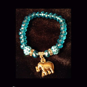 Bling sparkle blue crystal beaded bracelet with charm
