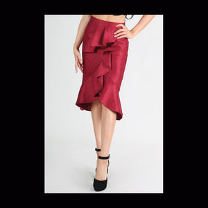 Burgundy jacquard skirt