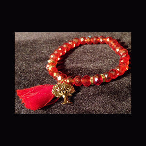 Bling sparkle red crystal beaded bracelet with tree charm