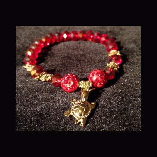Bling sparkle red crystal beaded bracelet with charm and owl detail
