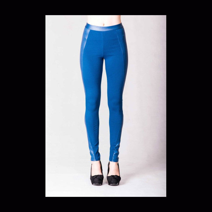 Teal Blue Faux leather leggings