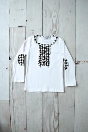 Black and White Houdstooth Ruffle Shirt