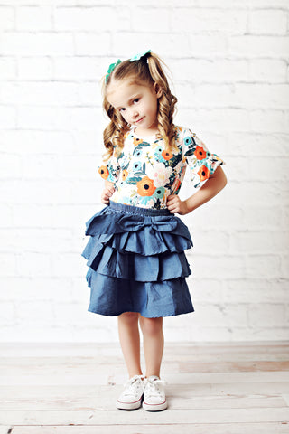 Light Denim Ruffle Tiered Skirt