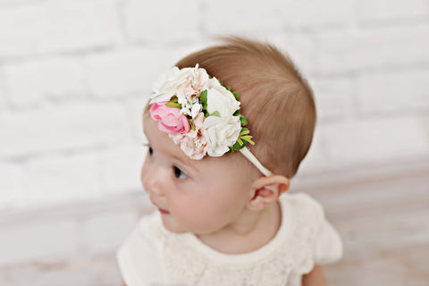 Pink and White Floral Nylon Headband