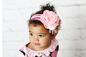 Pink and Brown Stripe Flower Headband