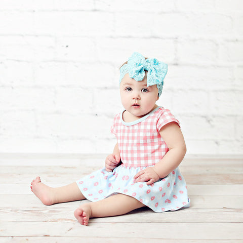 Pink Checked Onesie Dress for Babies