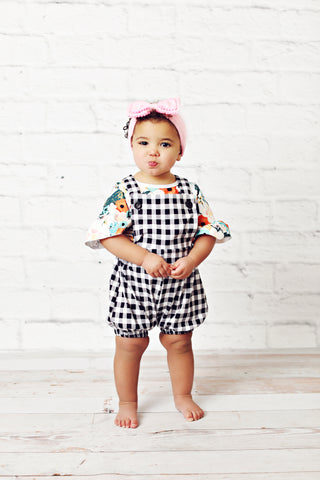 Black and White Check Romper
