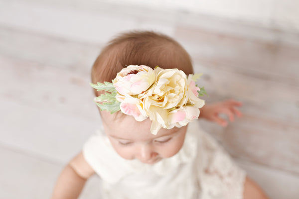 Light Pink And Cream Floral Nylon Headband