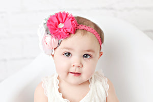Dark Pink and White Headband