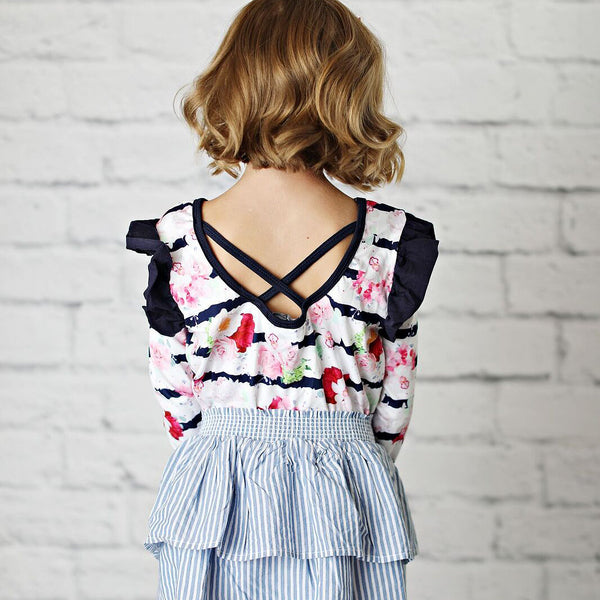 Striped Floral Bodysuit