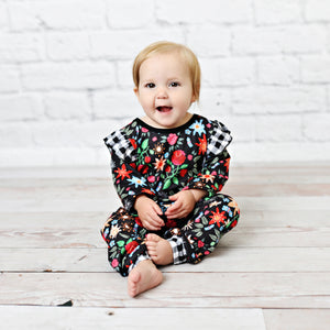 Black Floral and Checkered  Baby Romper