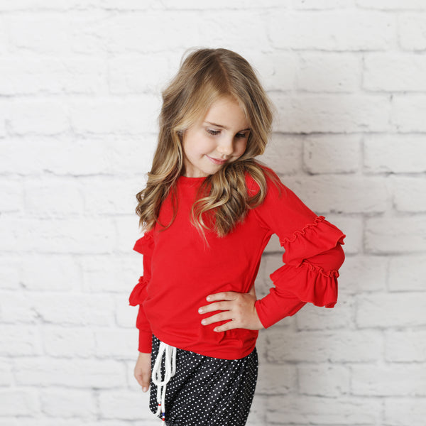 Red Ruffle Sleeve Shirt