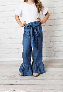 Paper Bag Denim Bell Pants