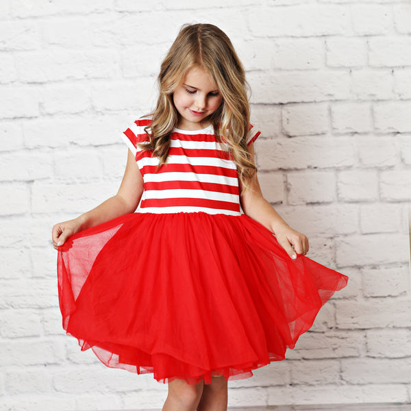 Red Striped Tutu Dress