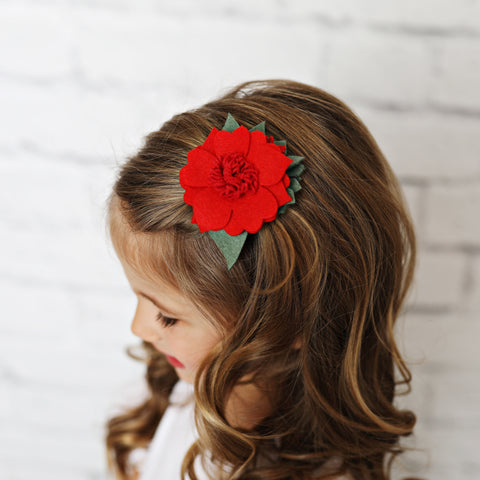 Red Felt Hair Flower