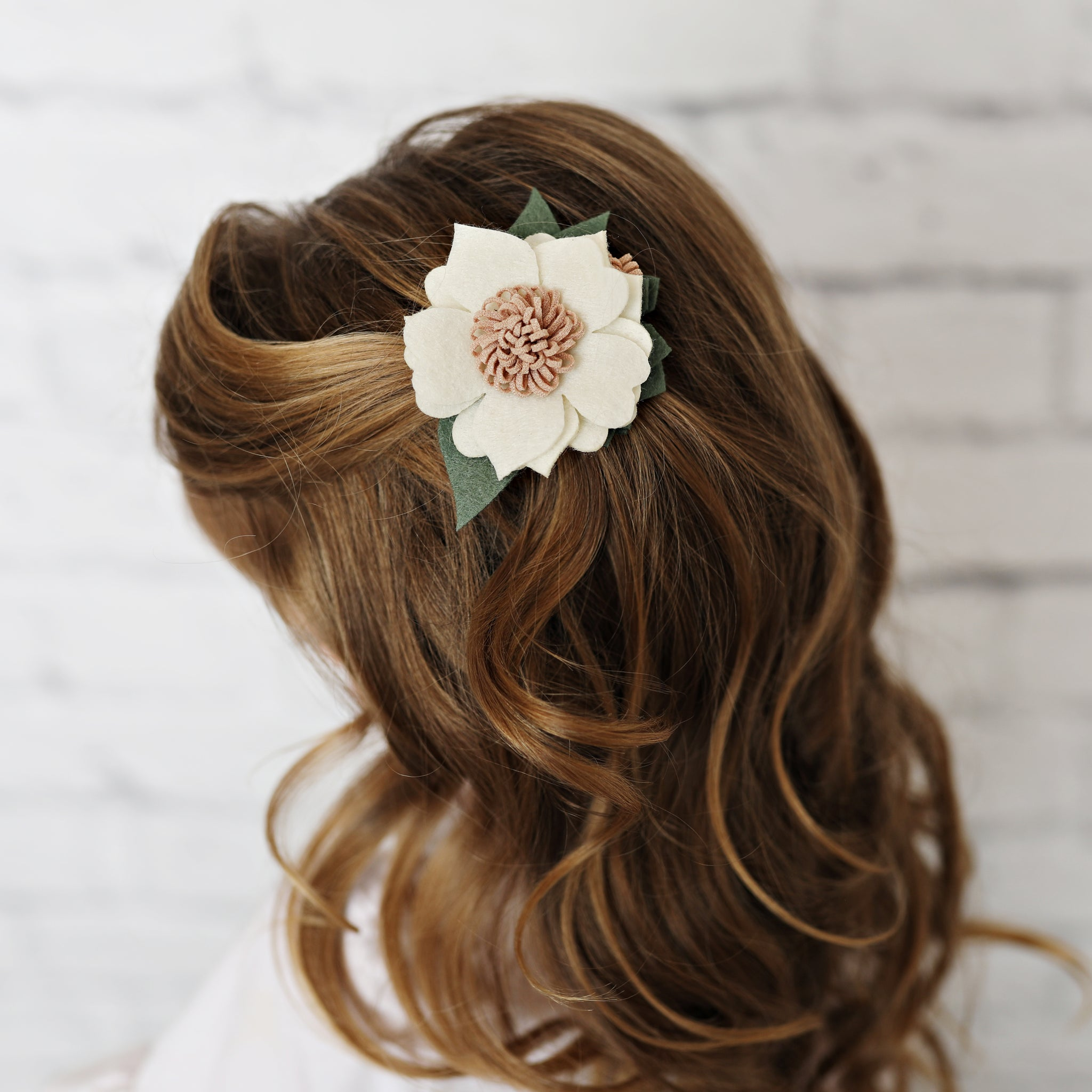 Cream Felt Hair Flower