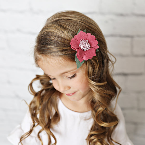 Mauve Felt Hair Flower