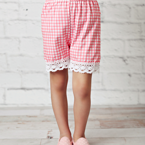 Pink Gingham Lace Shorts