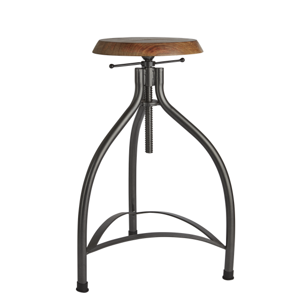 Cooper Solid Wood & Metal Adjustable Bar Stool - 34 Inch - Furniture - Industville