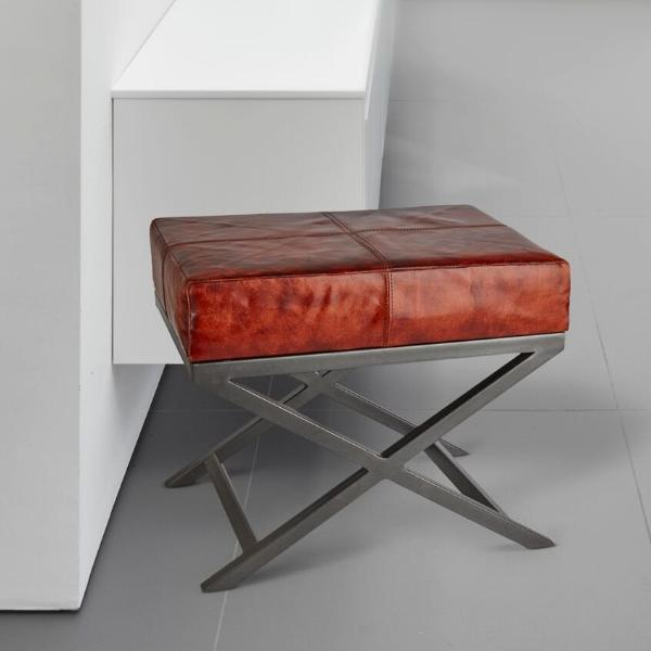 Criss Cross Real Leather & Metal Bench - 17 Inch - Furniture - Industville