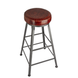 Tall Vintage Real Leather & Metal Work Bar Stool - 32 Inch - Furniture - Industville