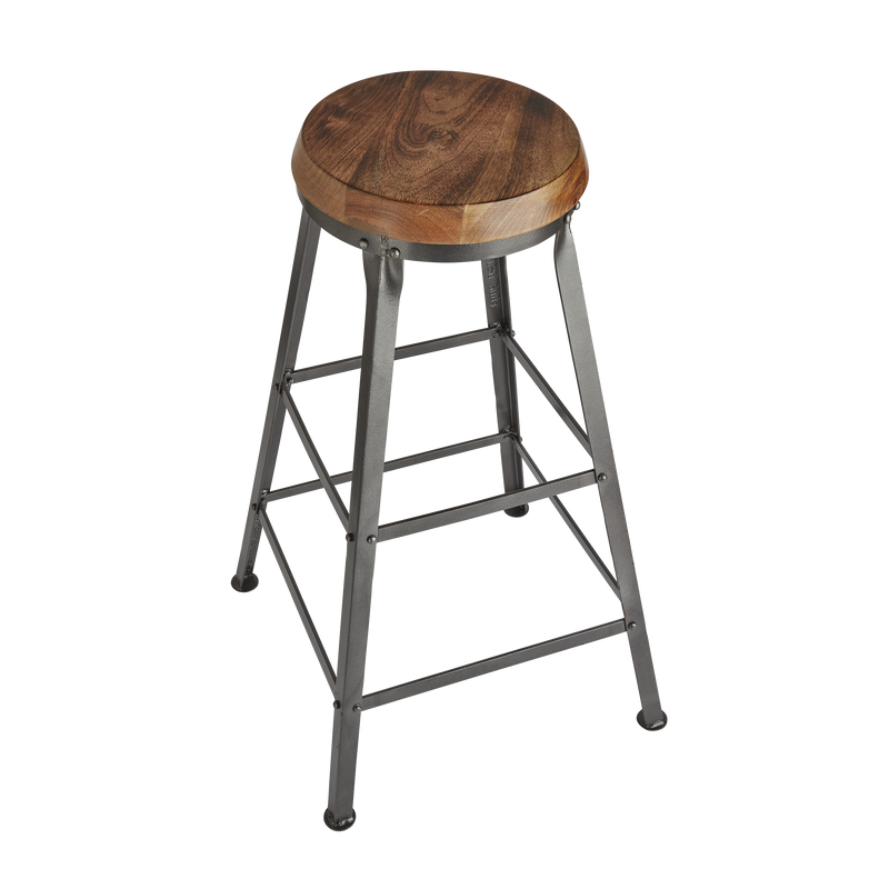 Tall Solid Wood & Metal Work Bar Stool - 32 inch - Furniture - Industville
