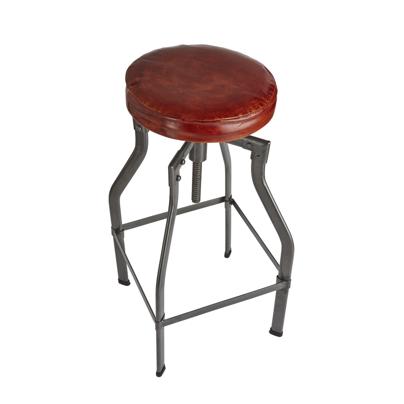 Turner Leather & Metal Adjustable Bar Stool - 35 Inch - Furniture - Industville