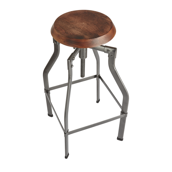 Turner Solid Wood & Metal Adjustable Bar Stool - 35 Inch - Furniture - Industville