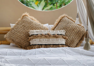 Raffia Burlap Natural Pillowcase