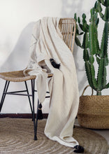 Load image into Gallery viewer, Beige Tassel Bed Throw Blanket Handloom Raw Cotton