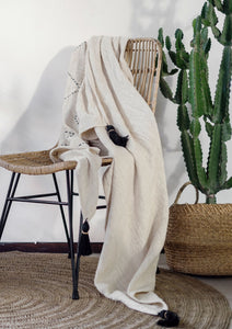 Beige Tassel Bed Throw Blanket Handloom Raw Cotton