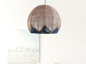 Palm Beach Navy and Natural Rattan Pendant Light Modern Kitchen Pendant