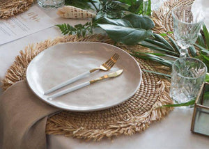 Raffia Natural Placemats Fringes Set of 6